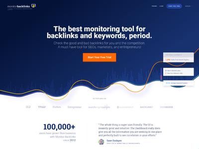 Monitor Backlinks - homepage design