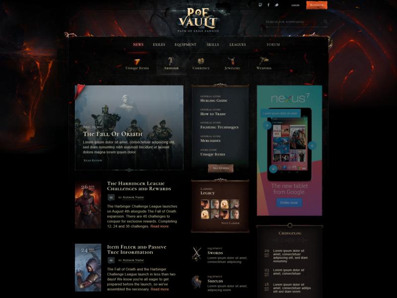 PoE Vault - homepage design