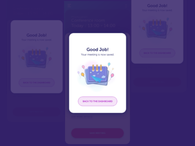 Meeting room booking app - success message