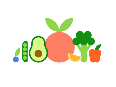 Fruit & Veggies logo vegtables vegan fruit icon vector