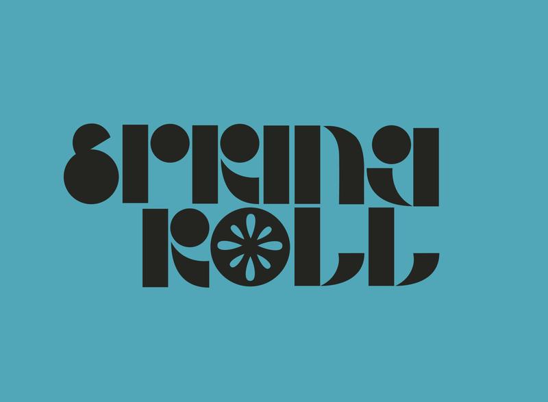 Spring Roll blue typography logo branding design