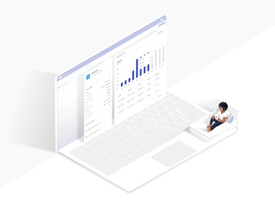 Interface miniature graph bed representation black afro web iso character isometric siftery track illustration