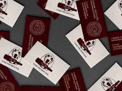 Liquorhound Business Cards liquor maroon business cards