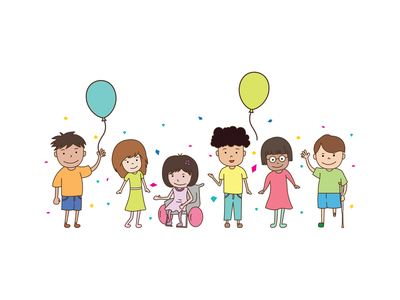 Characters disabled races kids balloons vector everydaydesign illustration design