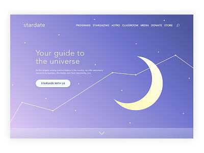 Landing Page // Daily UI Challenge 003 stargazing moon stars interface ui illustration astronomy landing landingpage daily-ui dailyui