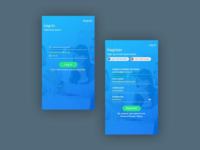 Log in, Register | Events app log in iphoneapp ui concept online illustration eventsapp internet business colorfulapp modernui clean mobile minimalist layout designer ux ui design graphicdesign register