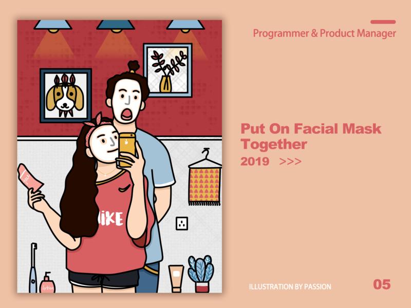 put on facial mask together programmer male product manager female illustration