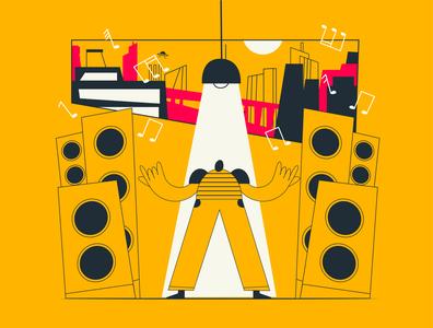 man and music illustration