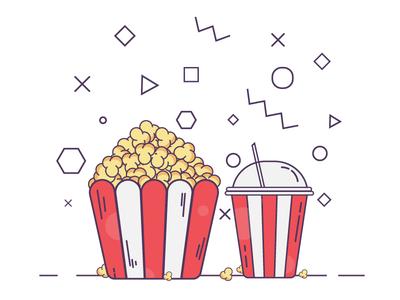 Popcorn and cola illustrations