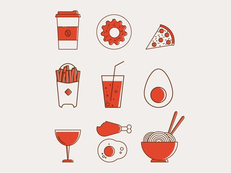 Foods Icon set donuts egg pizza food icon drink icon food art art line flat design vector illustrator illustration flat  design