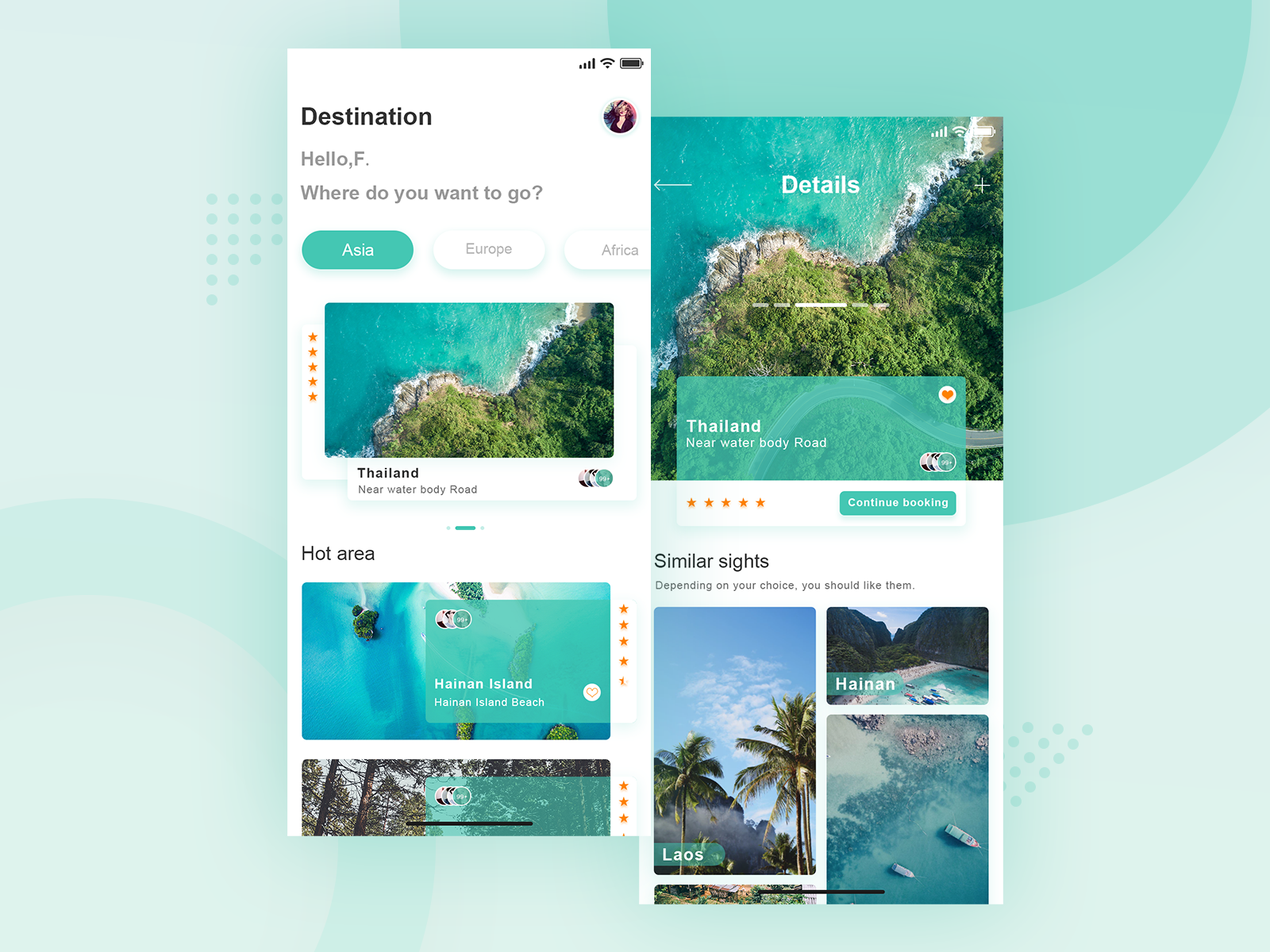 Travel app interface travel 练习 green app