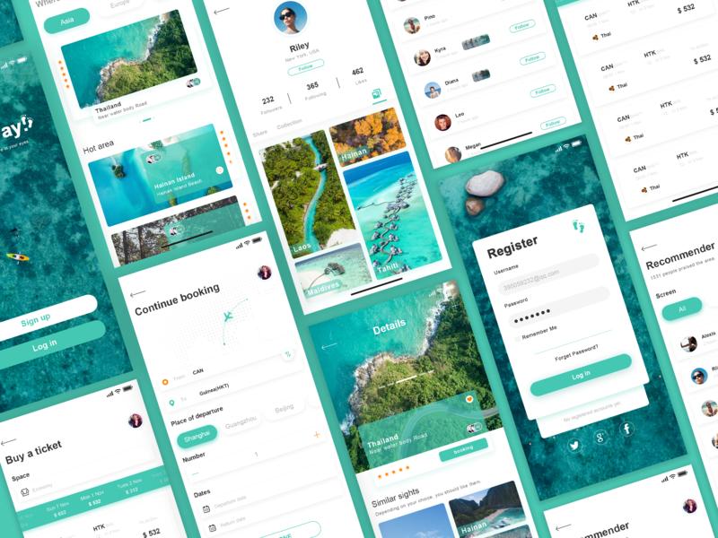 Travel app green interface app 练习
