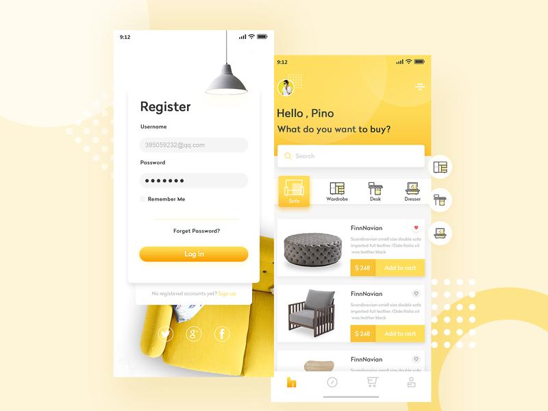 Furniture app yellow interface 练习 app