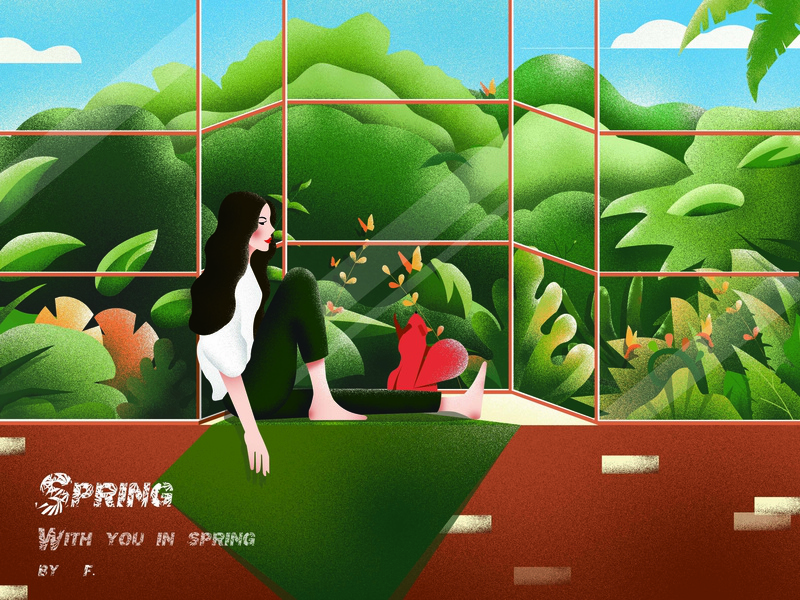 spring ps ai window plant squirrel girl green illustration spring