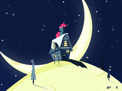 Christmas ladder house moon santa claus night