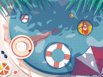 summer sunshade yellow duck life buoy ball sunglasses watermelon swimming pool squirrel girl illustration