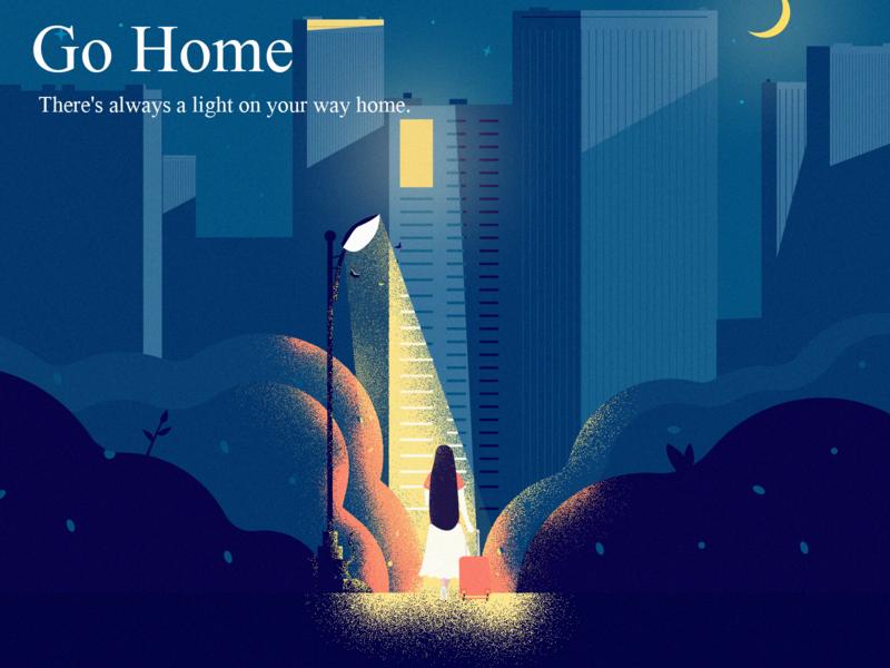 Go Home cat moth plant moon house street light home girl illustration