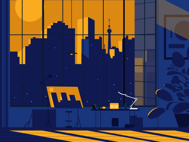 Night in the City free room city illustration house 练习