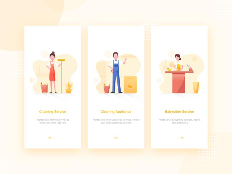 Housekeeping app illustration guide pages housekeeping app