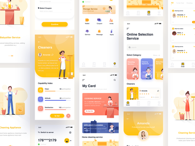 Housekeeping app collection design ui girl house interface illustration app