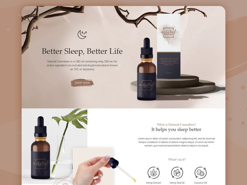 Landing Page for CBD Oil Product brown nude nude color product page cbd logo cbd oil cbd branding website webdesigner webdesign web ux ui minimal flat design