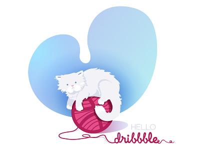 Hello Dribbble hello vector character drawing cat illustration