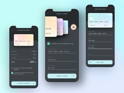 Mobile Checkout daily ui dark app dark ui checkout app design dailyui uiux ui creditcard daily