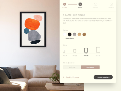 Frame Shop Settings daily ui app design minimalist checkout desktop dailyui ui settings