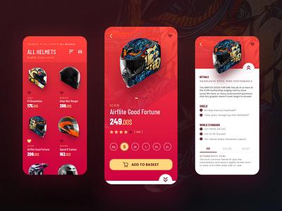 Helmet Shop ux ecommerce shopping motorcycle motorbike helmet product design dark ui mobile checkout ui app design dailyui