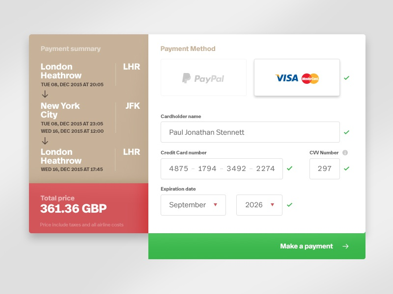 Daily UI - 002 - Checkout form by Wojciech Zalot - Dribbble