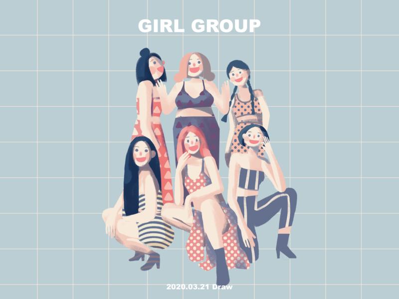 girl group girl illustration