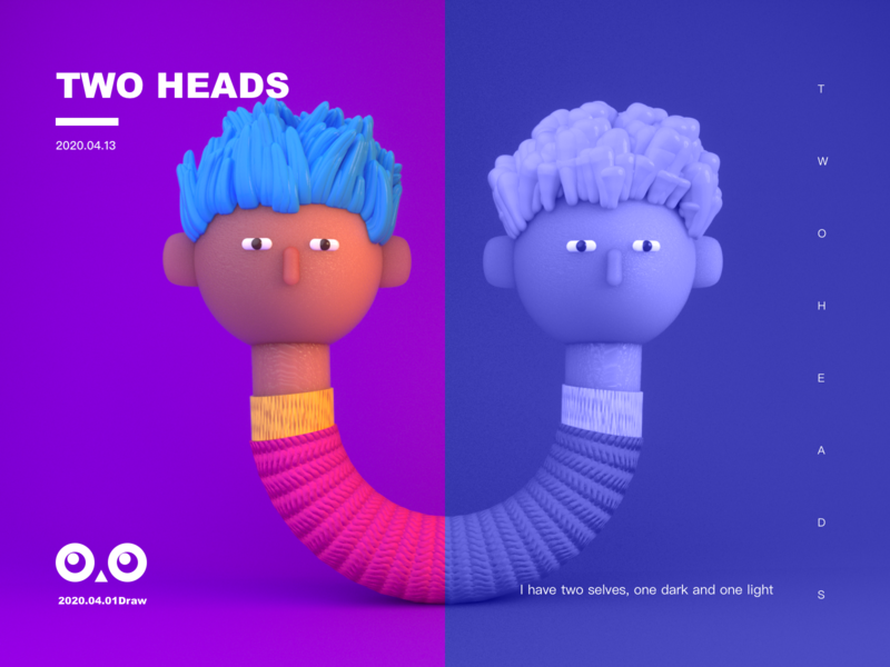 two heads illustration heads c4d