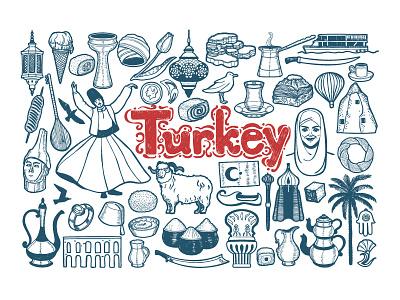 Turkish Symbols travel illustrator vector graphic symbols country turkish turkey