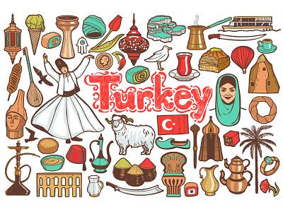 Colored Turkish Symbols travel symbols turkish turkey graphic vector hand-drawn illustrator country