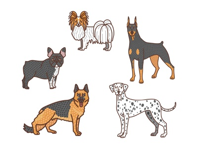 Dogs 3 dalmatian german shepherd doberman french bulldog papillon procreate ipad doodle animal pets dogs illustration vector graphic