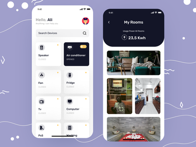 Smart home App uidesignpatterns uidesigner smart home uidesign typography application mobileappdesign home screen modern app ios mobile ui minimal app ux ui