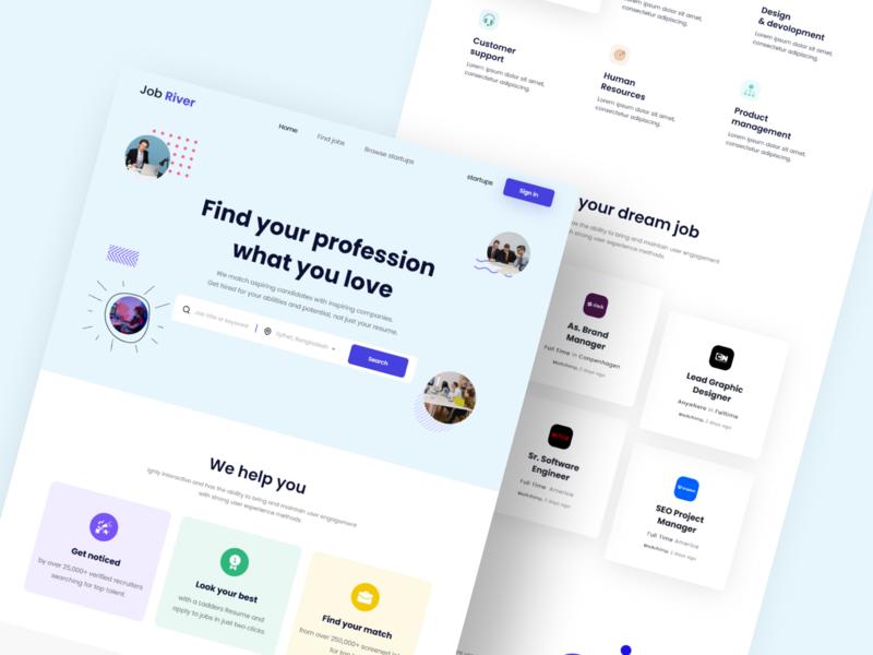 Job Search Landing Page Design job search jobs 2020 trend design application ui ux home screen illustration design webdesign website