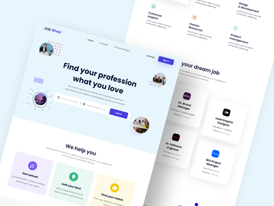 Job Search Landing Page Design job search jobs 2020 trend design application ui ux home screen illustration design webdesign website