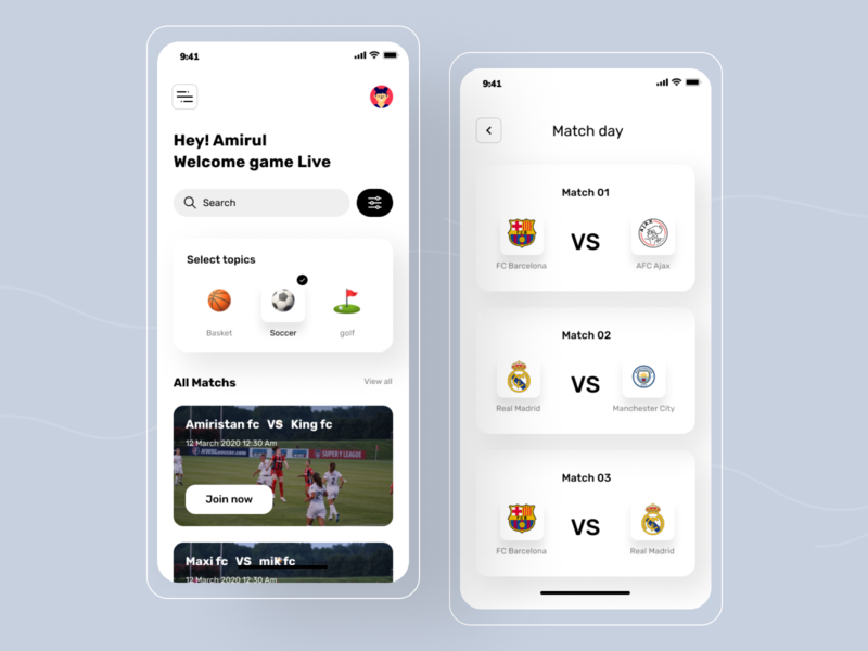 sports app football app football club football ios mobile ui design typography sports app application minimal app home screen modern app ui ux