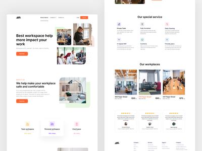 Workspace Home page design branding website workspaces web design design home screen ux ui