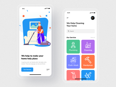 Home Cleaning Service App cleaning service home cleaning service app concept application mobileappdesign modern app mobile ui minimal app ios home screen ux ui