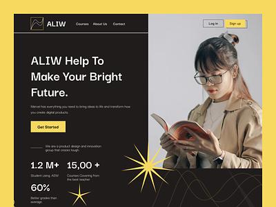 Online Learning Web Ui Design vector logo typography design education web education app concept application home screen ux ui