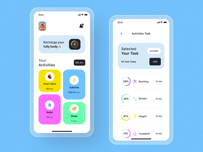 Health tracker App Ui Design health care health app typography app concept mobileappdesign mobile ui modern app minimal app ios home screen ux ui