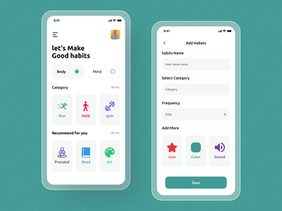 Habits care App UI Design. healthcareit healthcare app design app concept typography mobileappdesign ios modern app minimal app home screen ux ui
