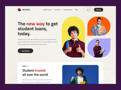 Student Banking Website Ui Design. home page design website concept website design student banking student banking homepage design design typography home page homepage home screen ux ui