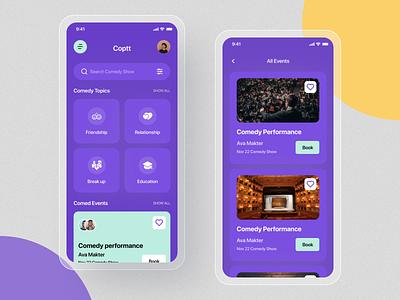 Comedy show App Ui Design. comedy show branding app concept typography mobileappdesign mobile ui modern app minimal app home screen ux ui