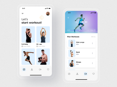 Work Out App Ui Design. gym design app concept typography mobile ui ios modern app minimal app home screen ux ui
