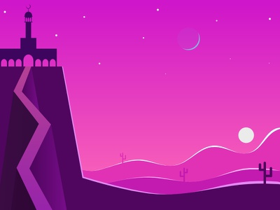 Last Day of Ramadhan Ya Karim night modern mosque gradient flat moon desert shot sunset illustration ramadan ramadhan