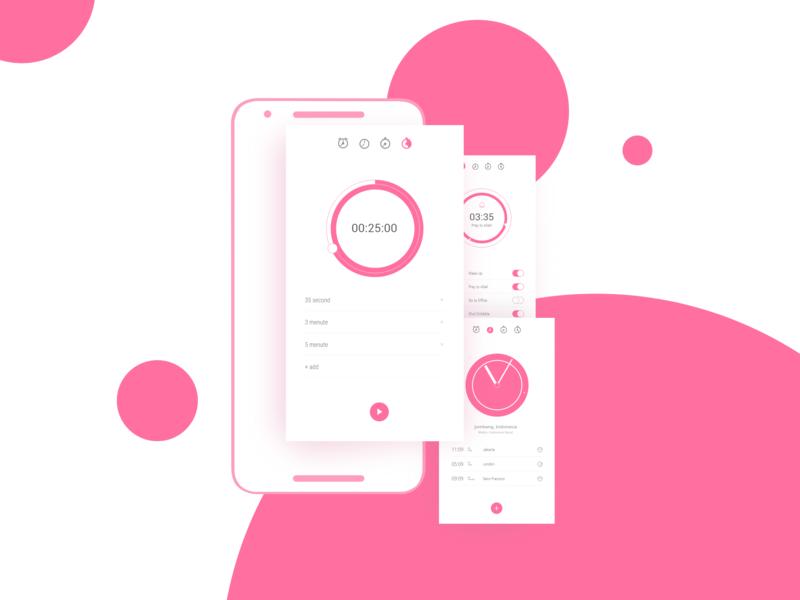 Freebie   Clock App Concept iphone pink timer alarm clock nexus flatdesign modern mobile design uiux ui app