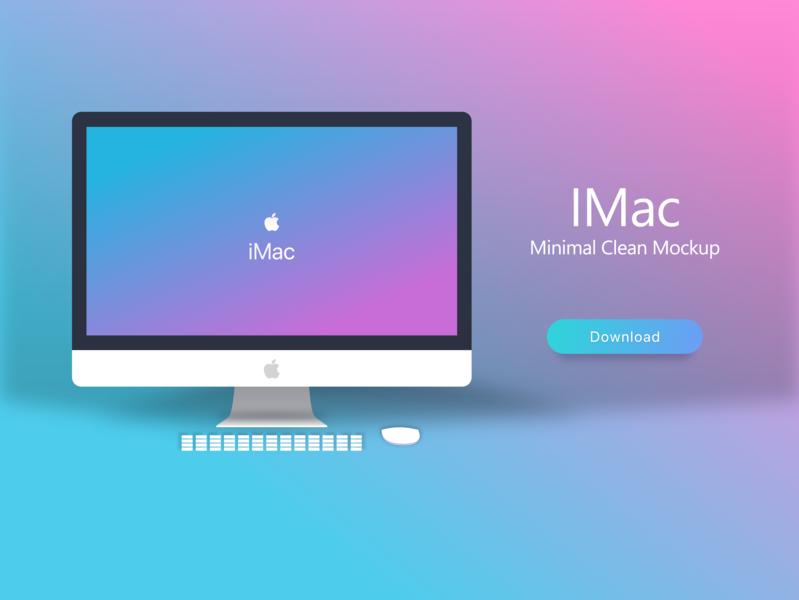 Imac Minimal Mocup Gradient kit download ui desktop clean free mockup apple gradient minimal imac freebie